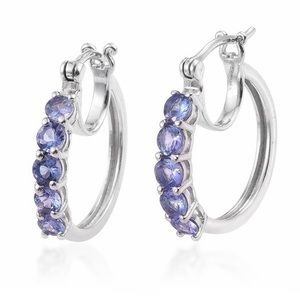 Tanzanite Platinum Over 925 Silver Hoop Earrings